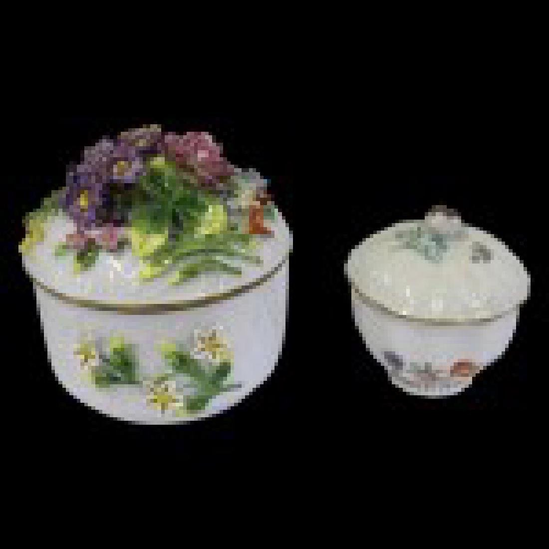 Pair of Dresden Porcelain Bowls with Lids - 5