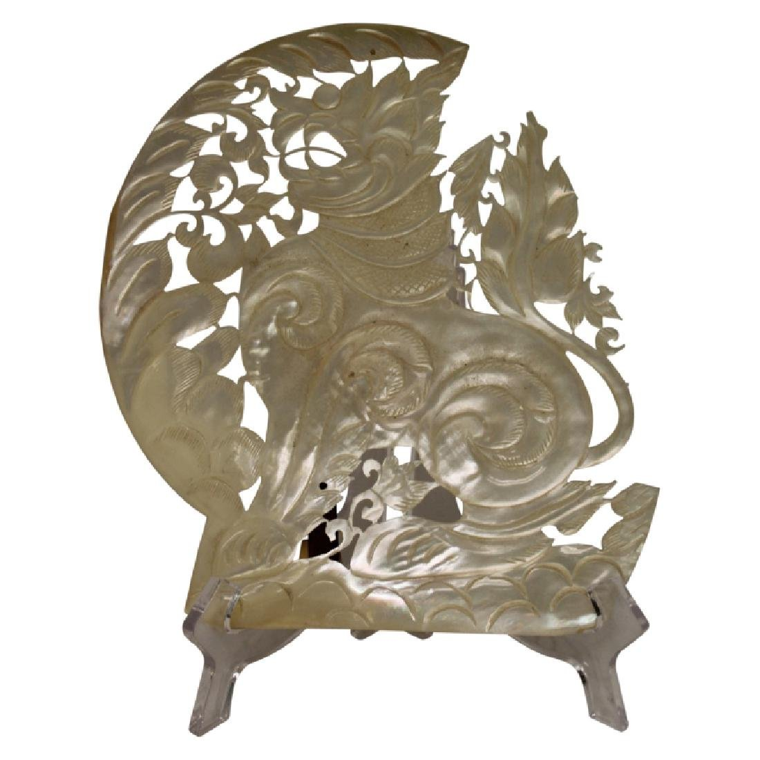 Chinese Carved Foo Dog Mother of Pearl Shell