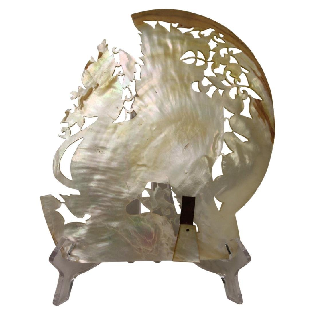 Chinese Carved Foo Dog Mother of Pearl Shell - 2