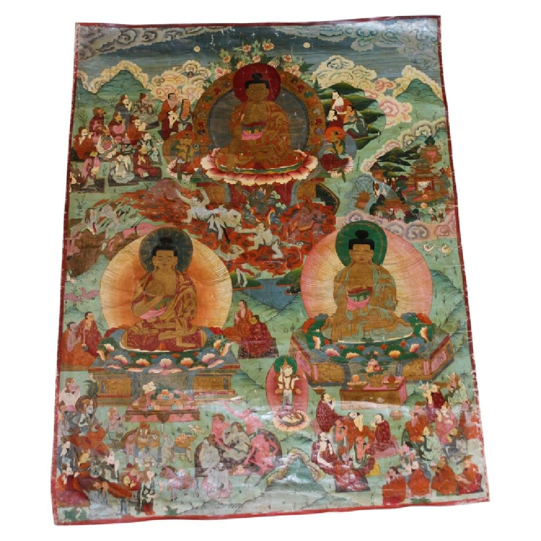 Tibetan Meditation Lacquered Thangka