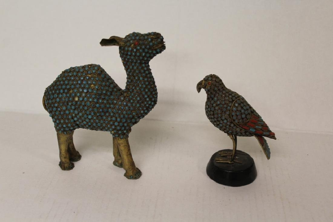 Pair of Stone Encrusted Wildlife Figures - 2