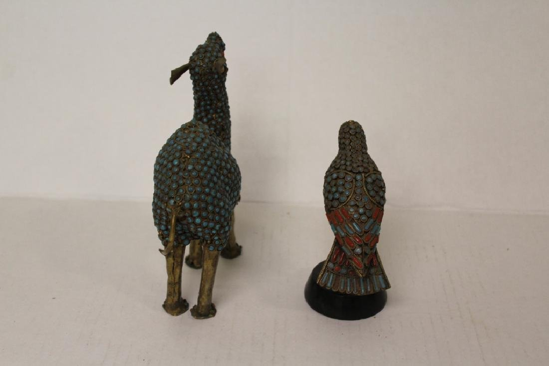 Pair of Stone Encrusted Wildlife Figures - 5