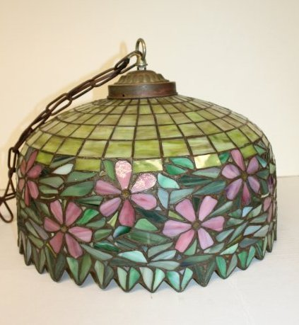 Handel Style Dome Stained Glass Chandelier