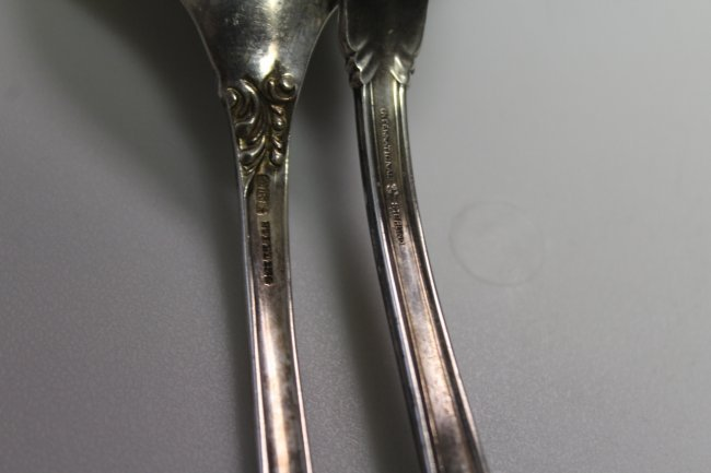 2 Large Sterling Silver Serving Spoons - 3