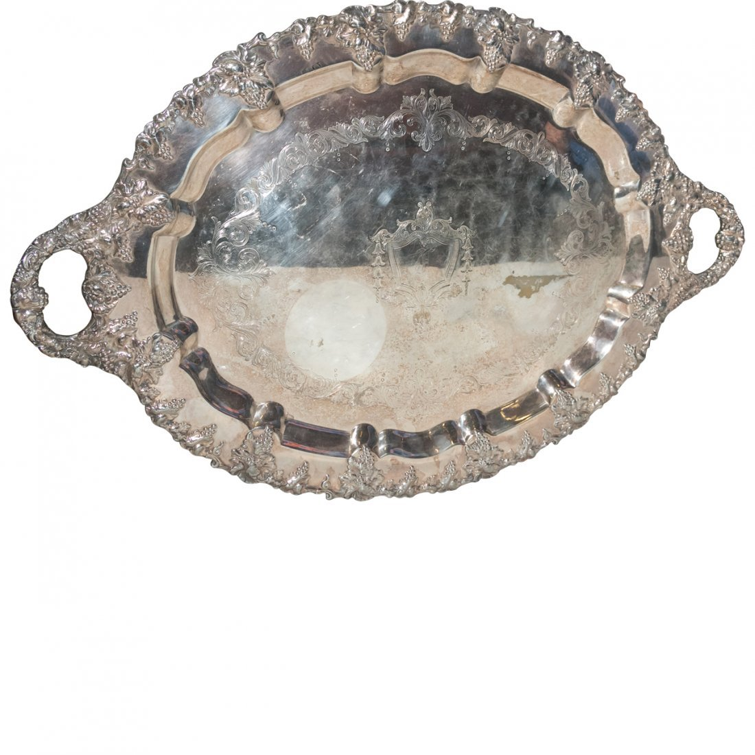 Large Ornate Silver Plate Oval Tray
