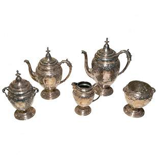 5 Psc Repousse Silver Plate Tea and Coffee Set