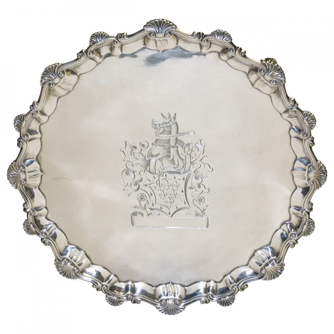 Antique Armorial English Sterling Silver Tray