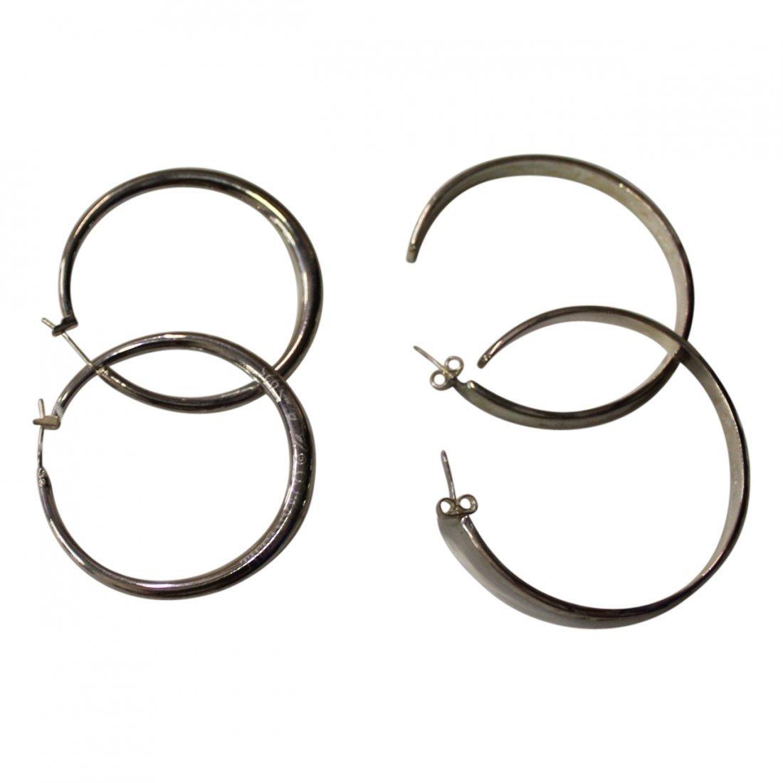 2 Pairs of Tiffany Sterling Hoop Earrings