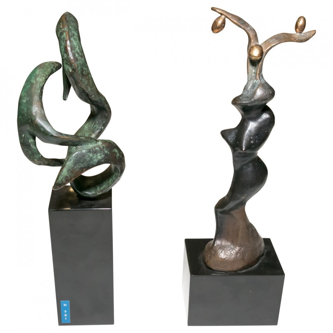Two Patinated Modern Art Organic Form Sculpture