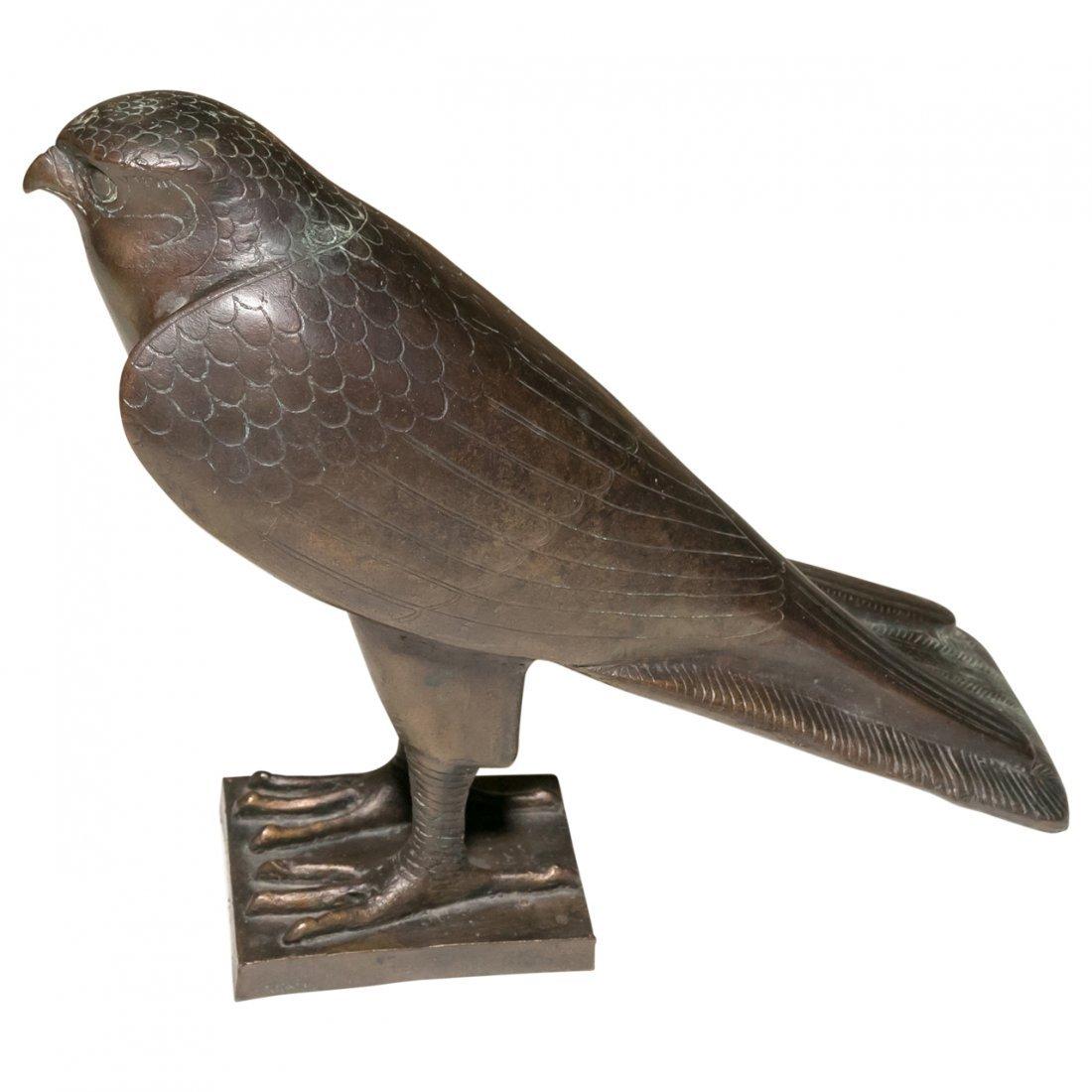Large Bronze Figurine of Egyptian Falcon