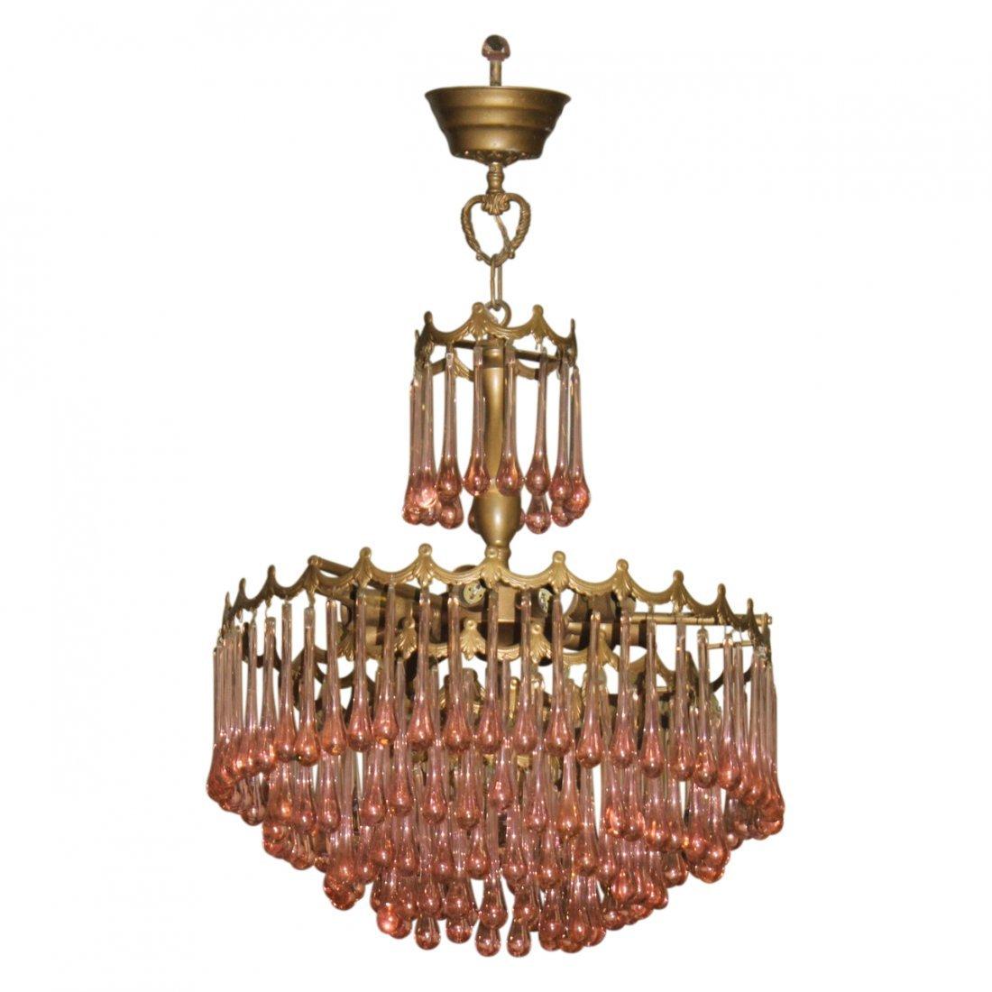 Antique Chandelier W/ Pink Prisms