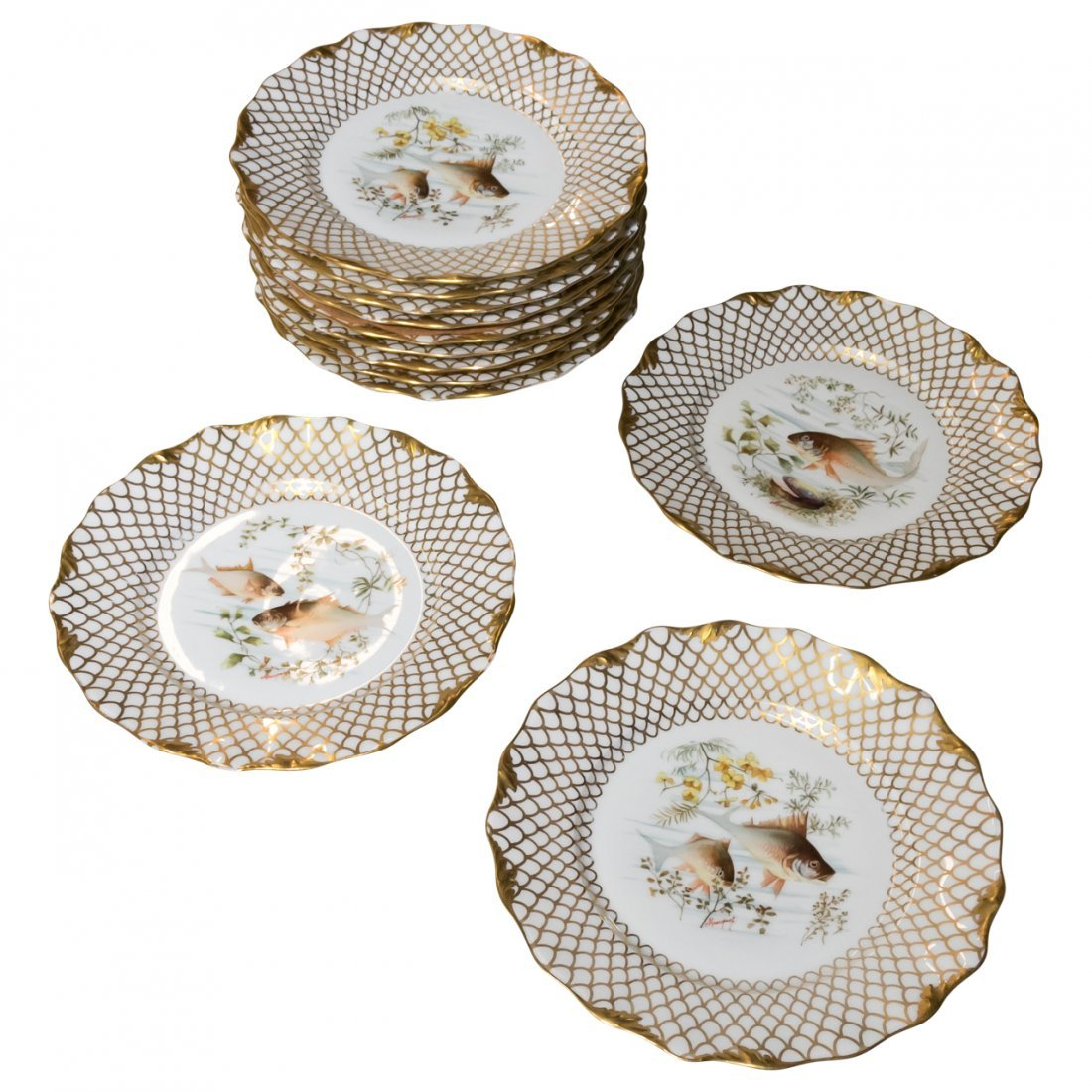 Set of 12 Limoges Fish Plates Signed Marduck