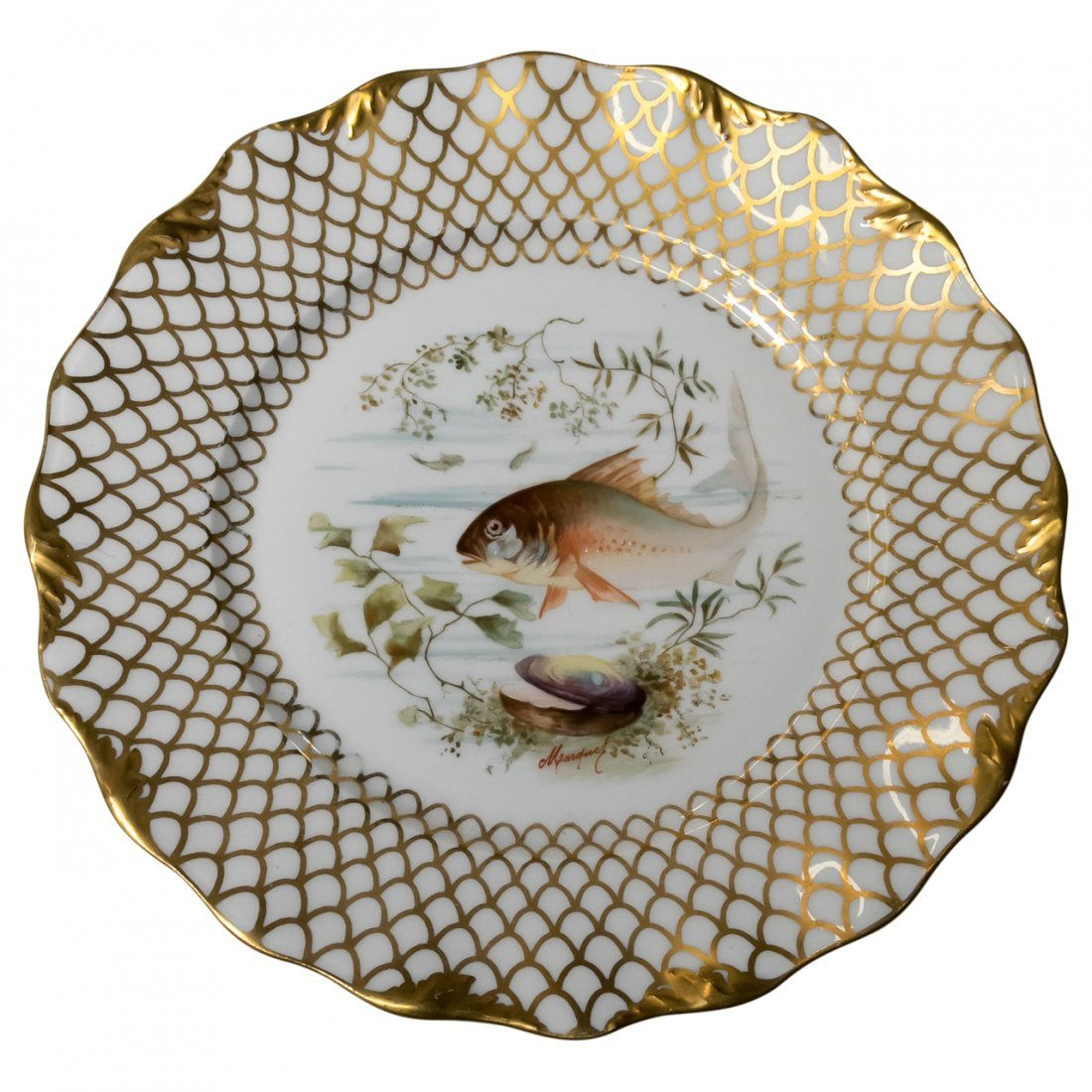 Set of 12 Limoges Fish Plates Signed Marduck - 2