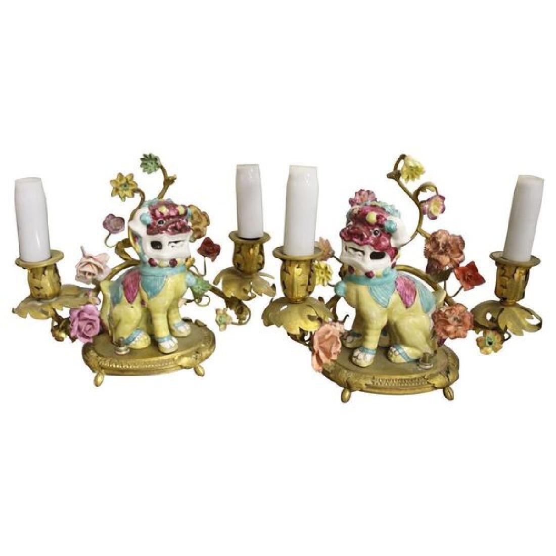 Pair Porcelain and Gilt Bronze Foo Dog Boudoir Lamps