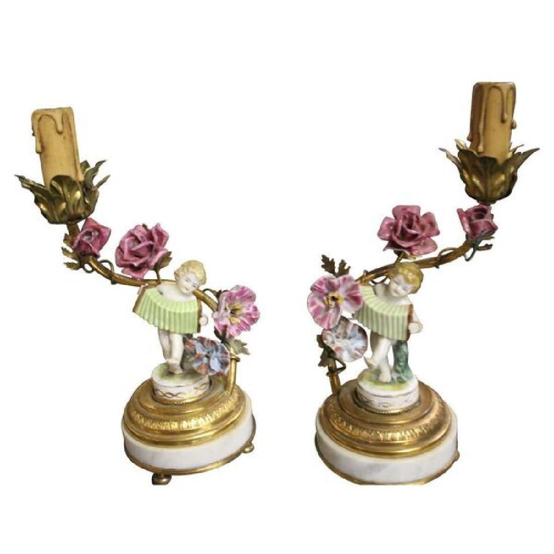 Pair of Porcelain Boudoir Cherub Lamps