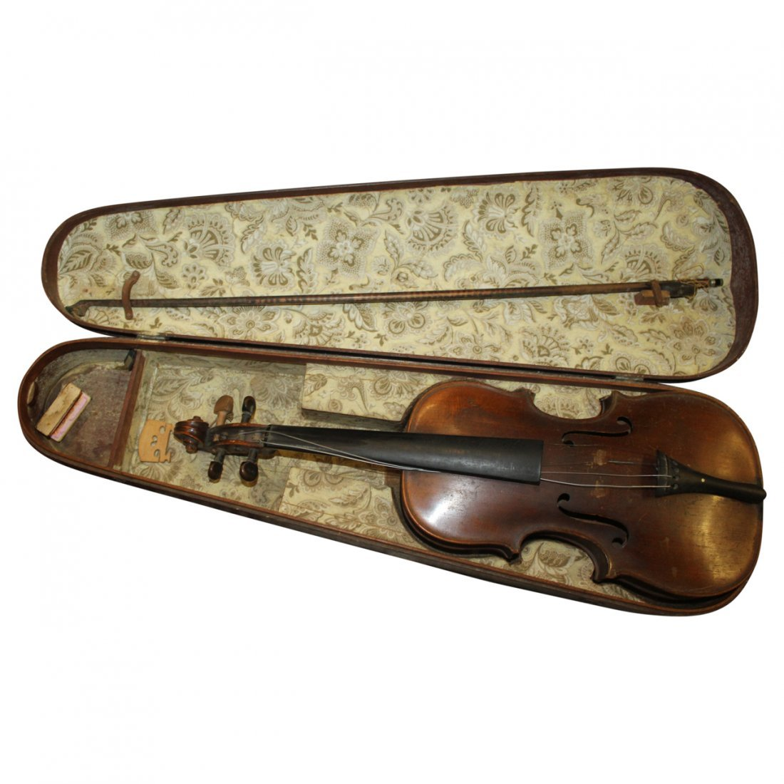 Antique Violin with Wood Fitted Case Signed HOPE