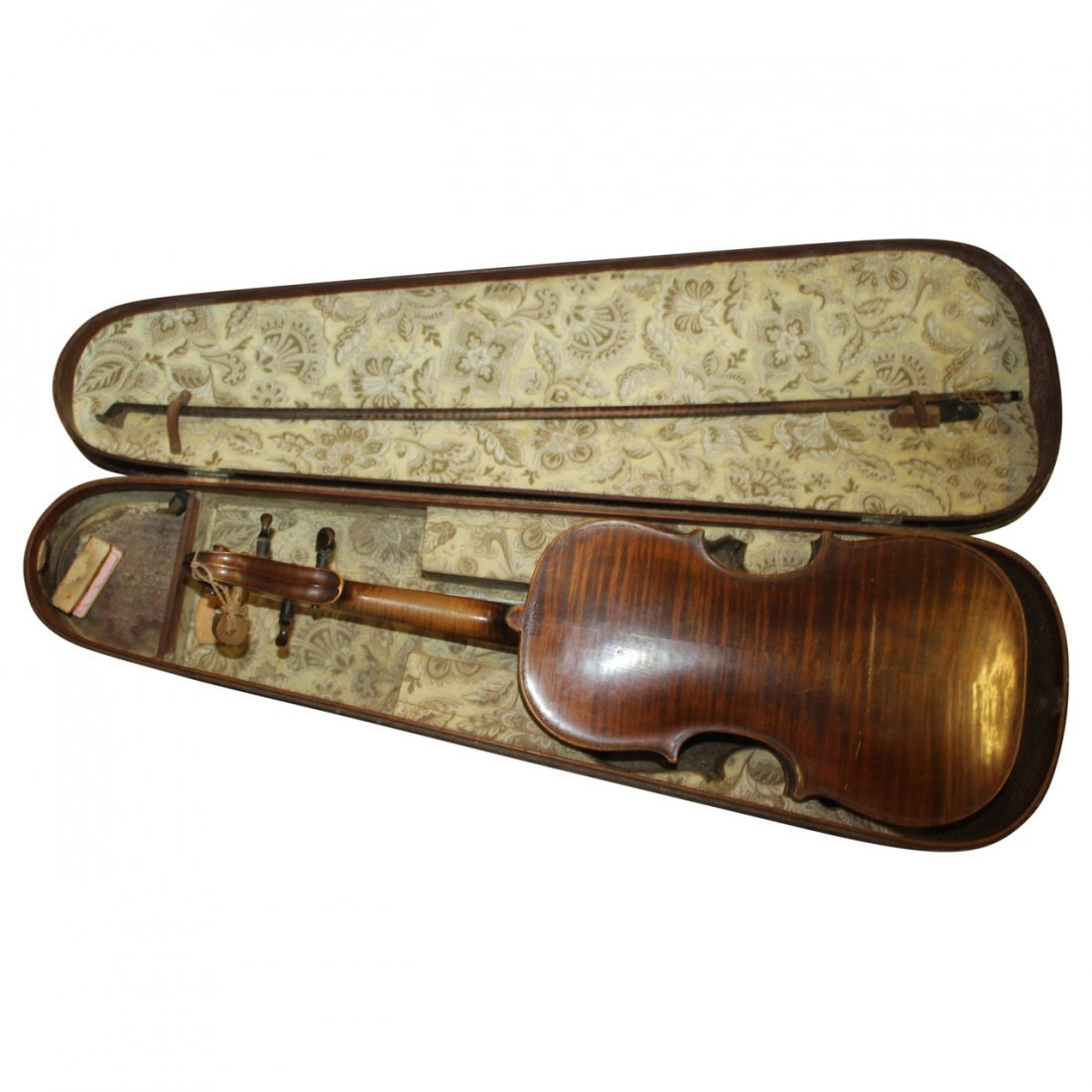 Antique Violin with Wood Fitted Case Signed HOPE - 2