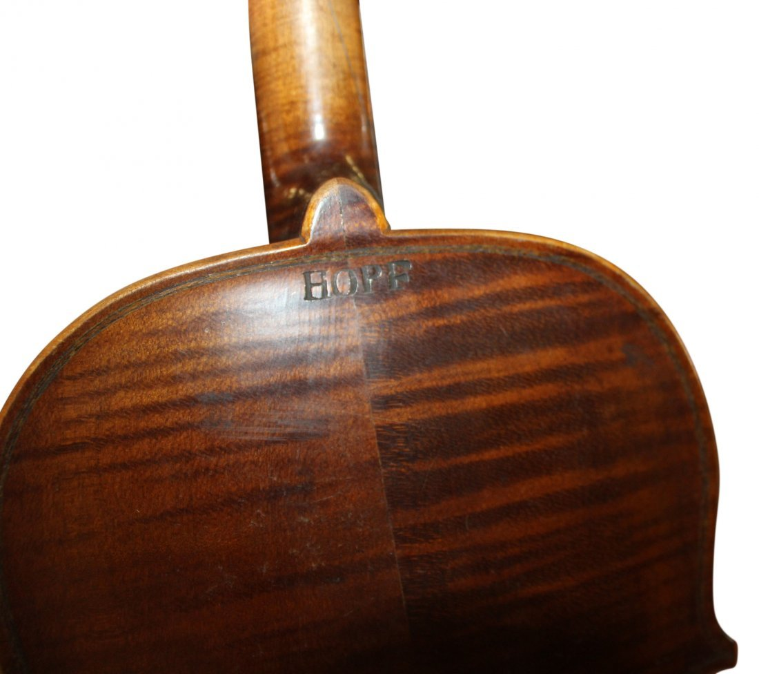 Antique Violin with Wood Fitted Case Signed HOPE - 3