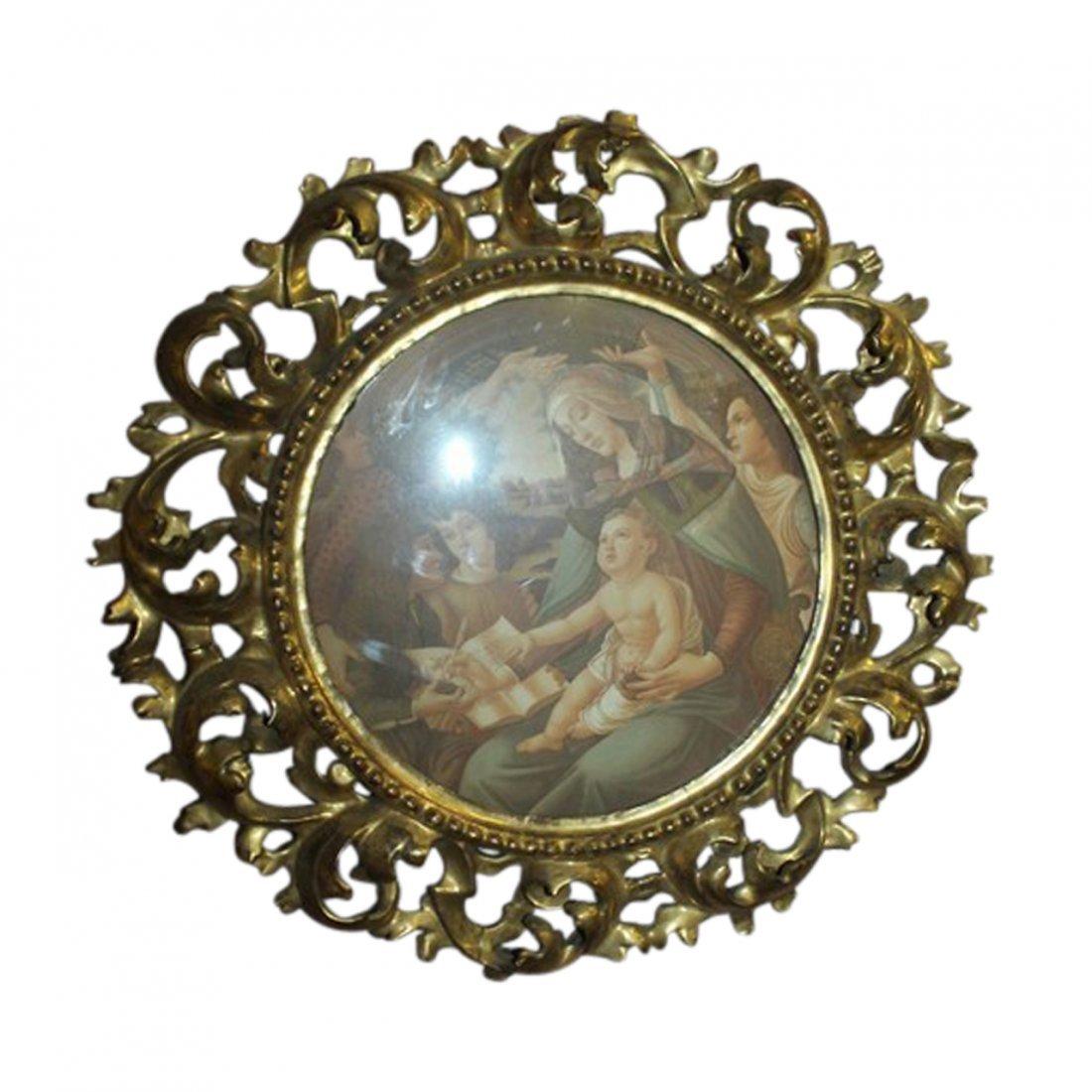 Antique Round Italian Gilt Wood Frame