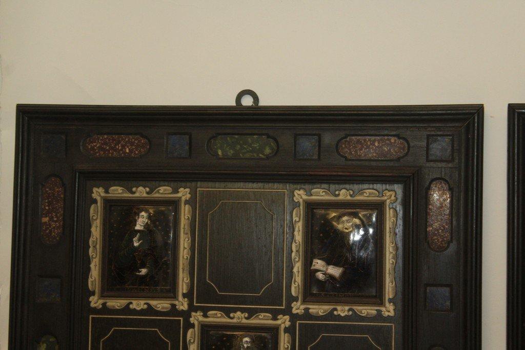 Rare Pair of G.B. Gatti Wood & Porcelain Plaques - 2