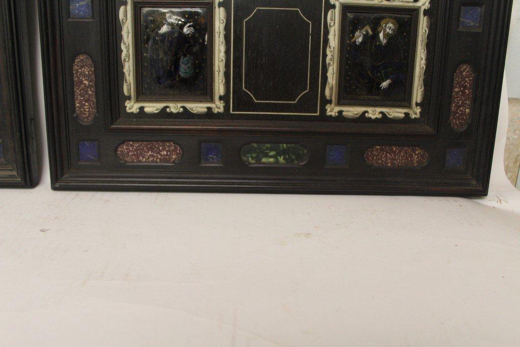Rare Pair of G.B. Gatti Wood & Porcelain Plaques - 3