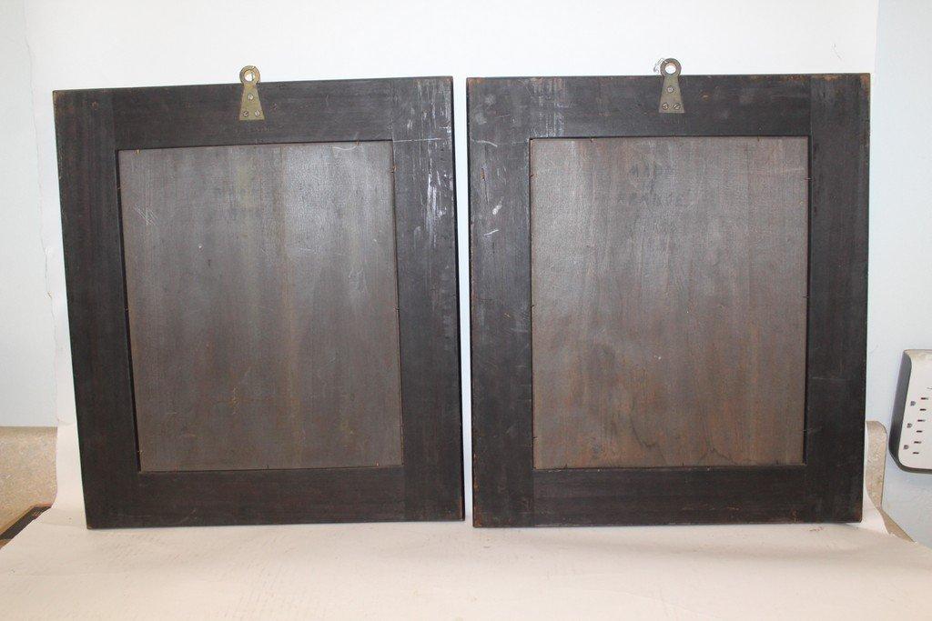 Rare Pair of G.B. Gatti Wood & Porcelain Plaques - 7