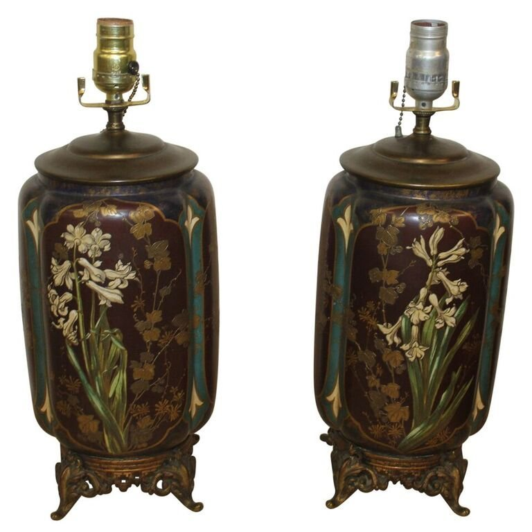 Pair of Antique Aesthetic Movement Vases as Lamps