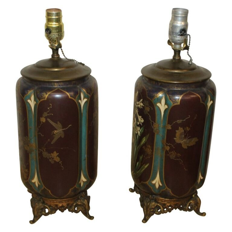 Pair of Antique Aesthetic Movement Vases as Lamps - 2