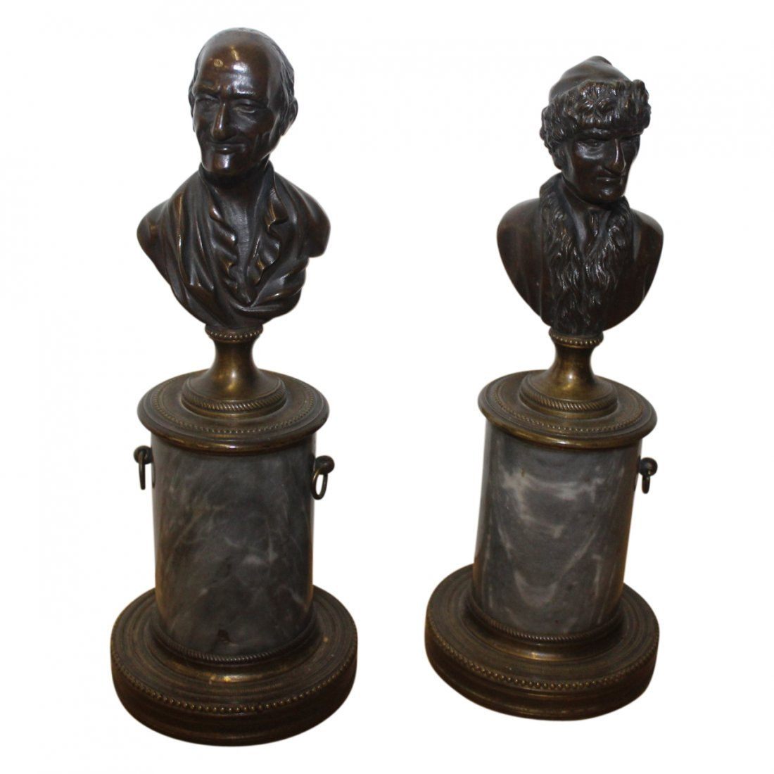 Pair of 19th Century Bronze and Stone Busts