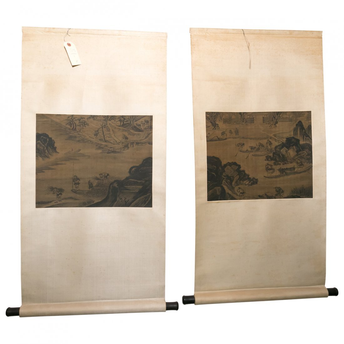 Pair of Antique Chinese or Korean Landscape Scrolls