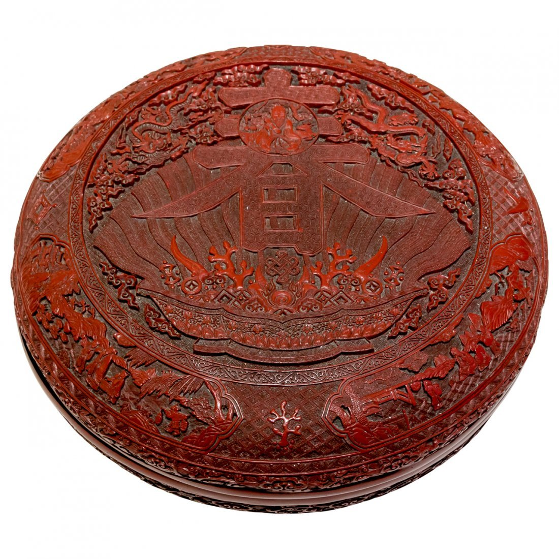Massive Chinese Antique Cinnabar Wedding Box