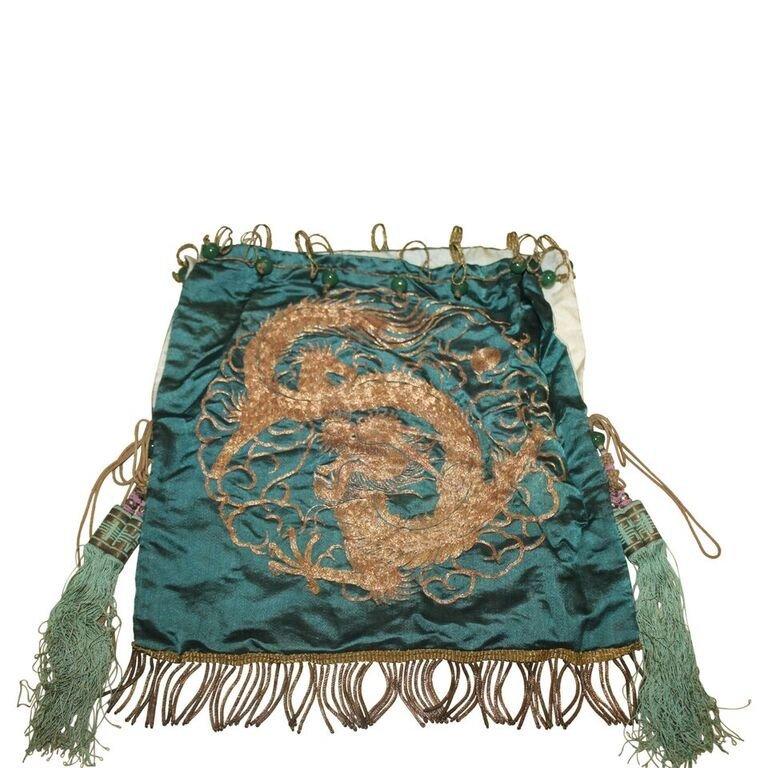 Antique Gold Thread Dragon Textile