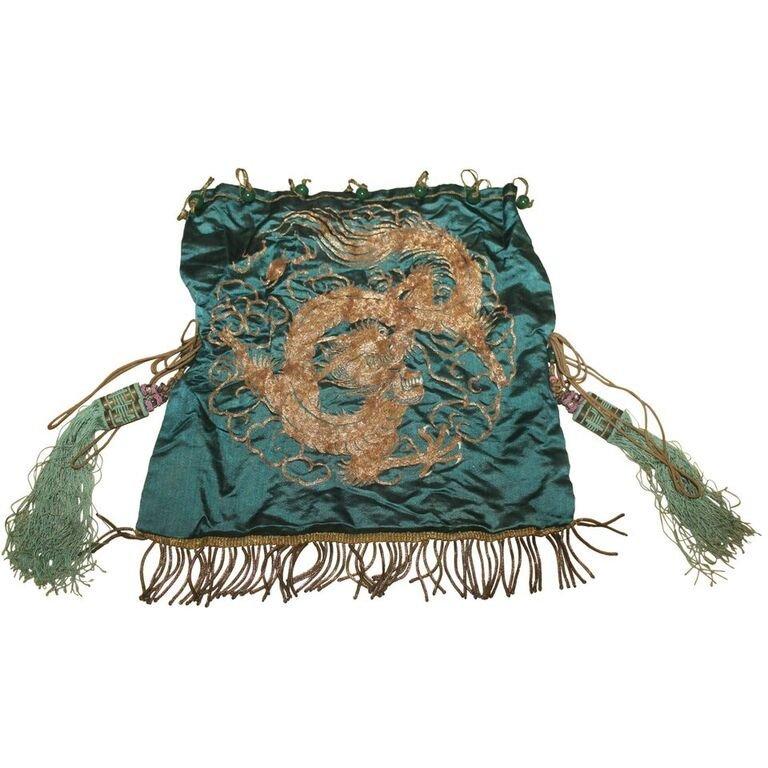 Antique Gold Thread Dragon Textile - 2