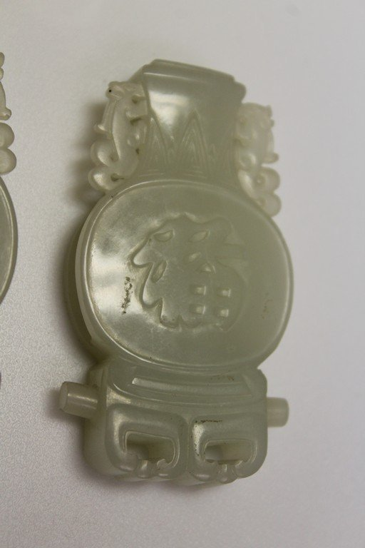 Pair of Celadon Jade Objects - 4