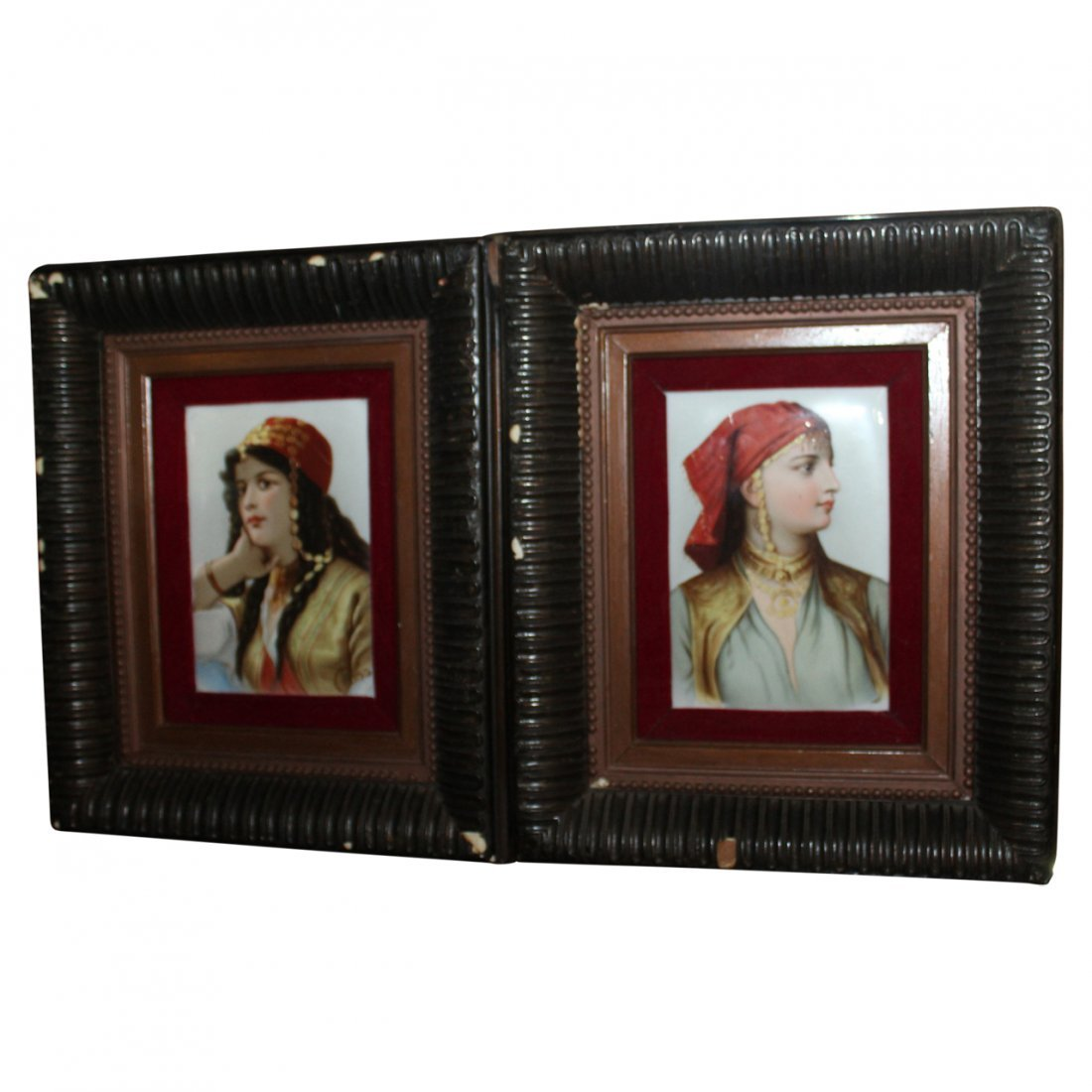 Pair of Antique Portrait Plaques