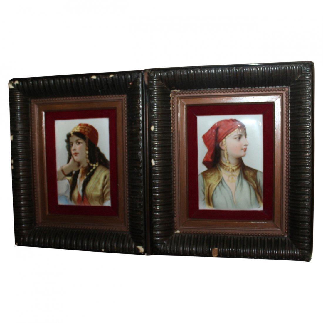 Pair of Antique Portrait Plaques
