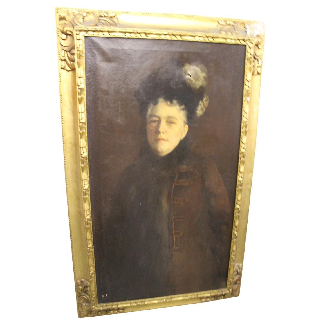 Large Antique Portrait of Gertrude Weld Parkinson