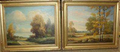 Pair of Landscapes on by H Atkinson