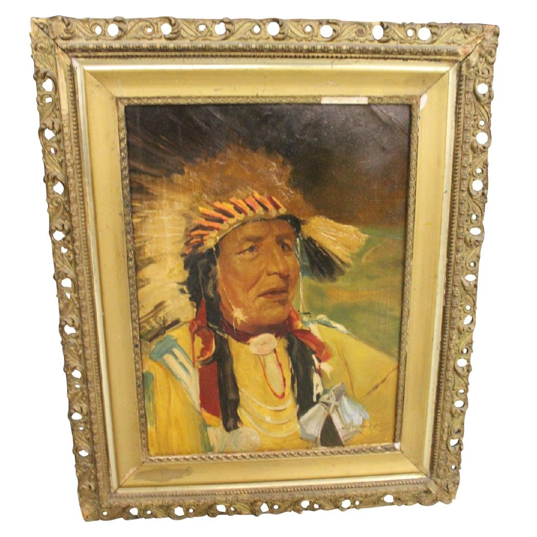 Painting on Board of an Indian Chief