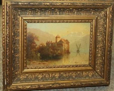 Antique Oil on Board Castle Scene