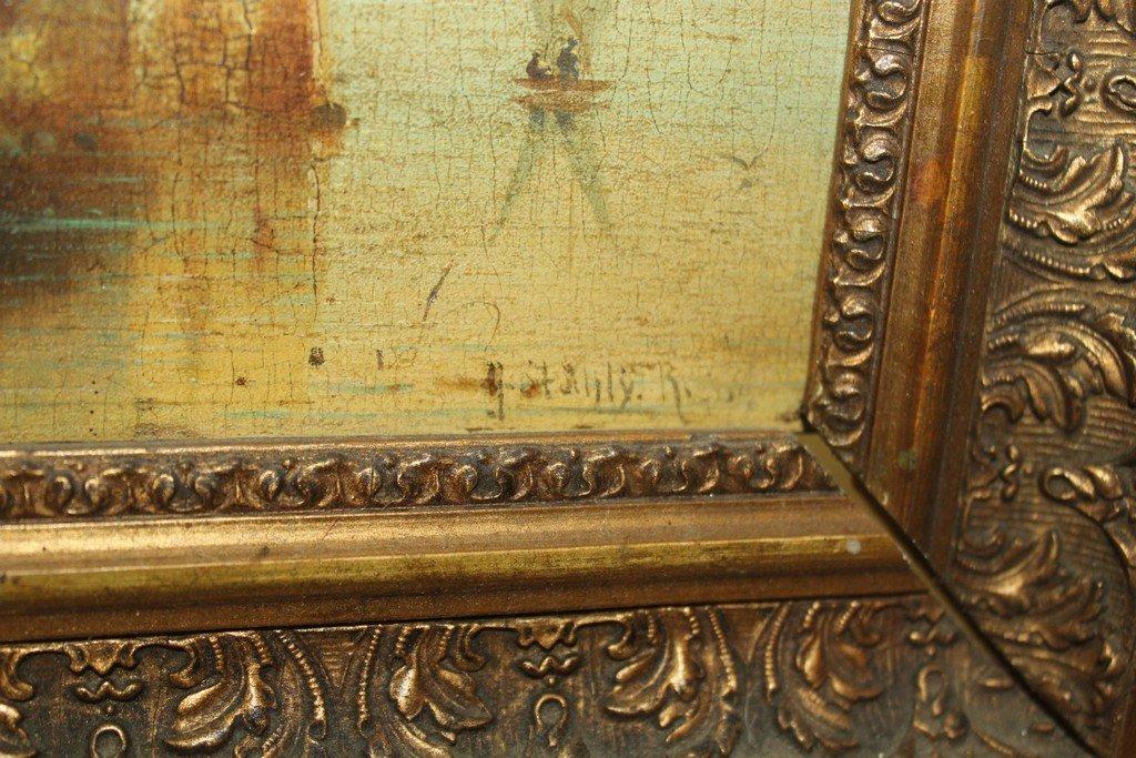 Antique Oil on Board Castle Scene - 2