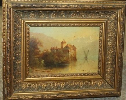 Antique Oil on Board Castle Scene - 5
