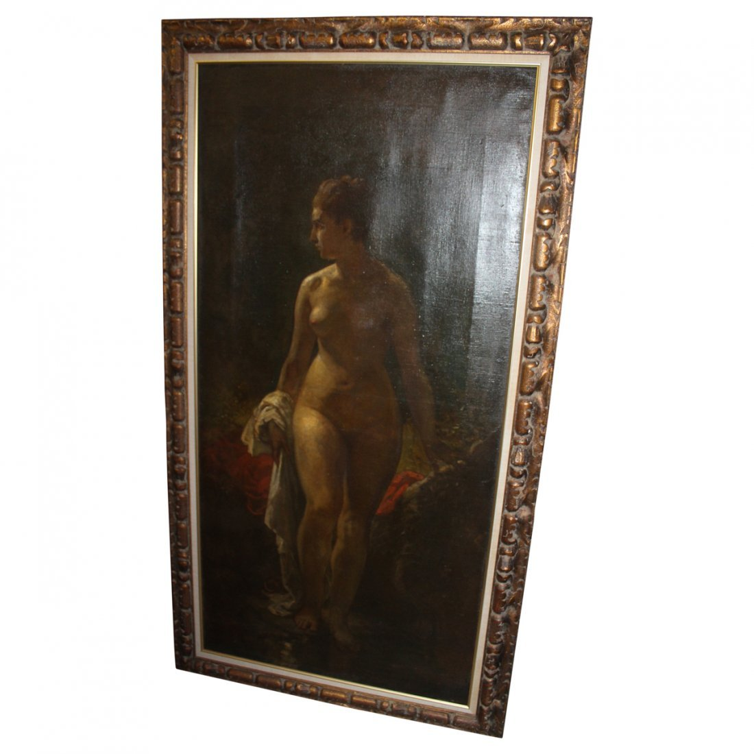 Large Antique Oil Painting of a Nude