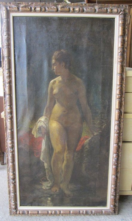 Large Antique Oil Painting of a Nude - 2