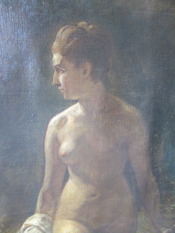 Large Antique Oil Painting of a Nude - 3