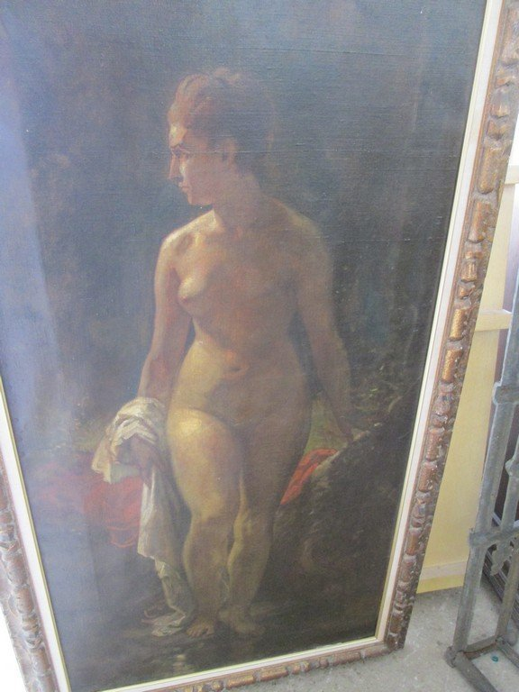 Large Antique Oil Painting of a Nude - 7