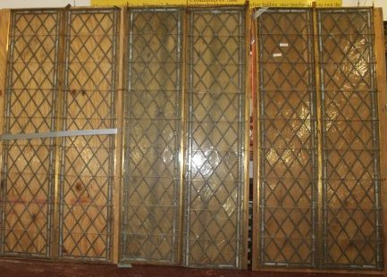 3 Large Antique Harlequin Leaded Glass Panels