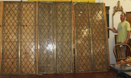 3 Large Antique Harlequin Leaded Glass Panels - 2