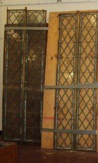 2 Large Antique Harlequin Leaded Glass Panels