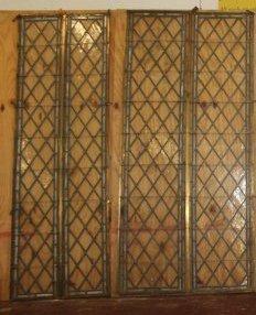 2 Large Antique Harlequin Leaded Glass Panels - 2